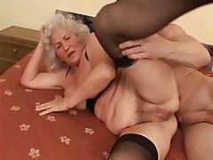 Granny, Blowjob, Stockings, Old and Young